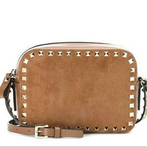 Valentino Garavani Rockstud Suede purse brown